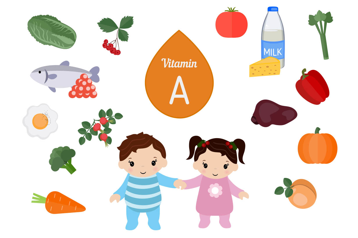 Picture showing several foods which are high in vitamin A.