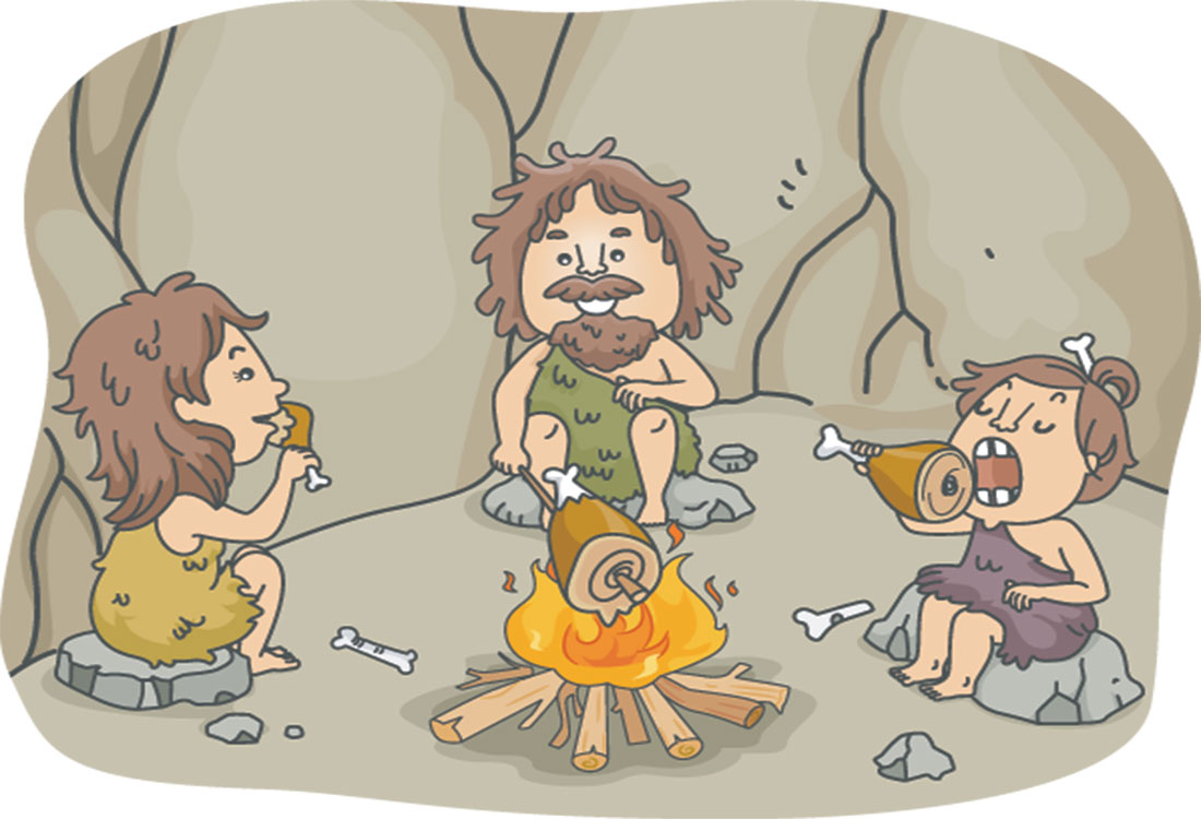 A brief history of human diets - picture shows caveman family eating in a cave
