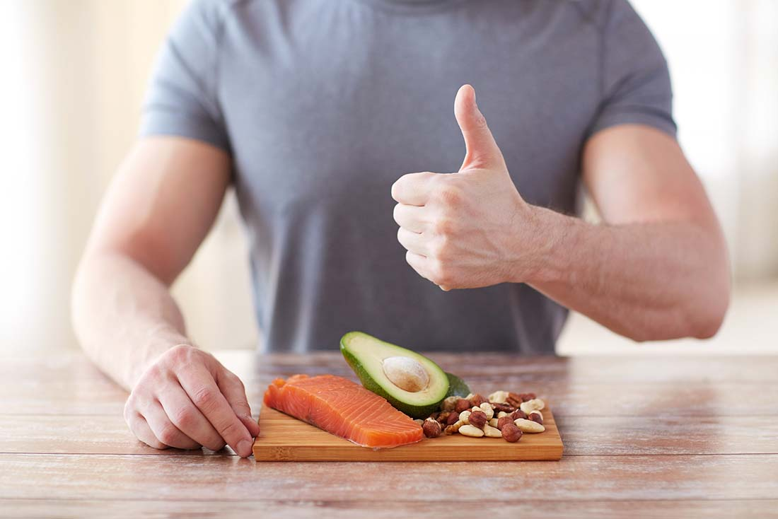 Gain weight the healthy way - man with healthy food