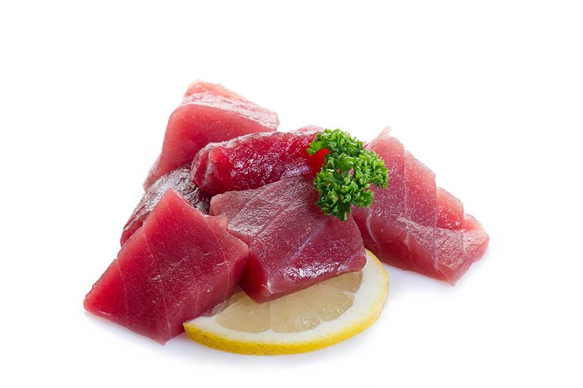 Picture of some fresh tuna belly sashimi.