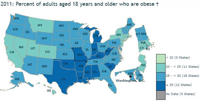 United States Obesity Rates 2011
