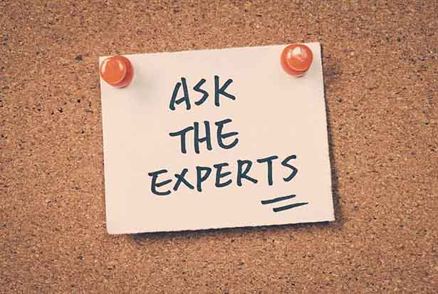 "Picture of a board saying ""ask the experts"""