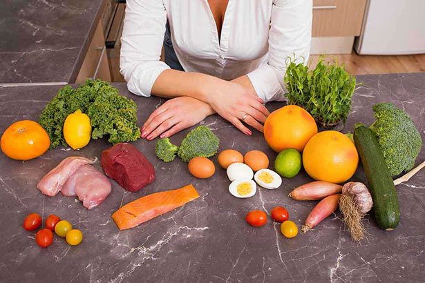 Picture of healthy foods - meats and vegetables