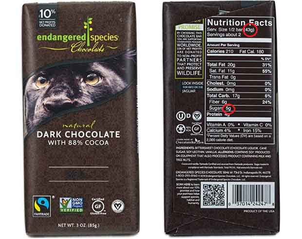 Picture of a low carb chocolate bar.