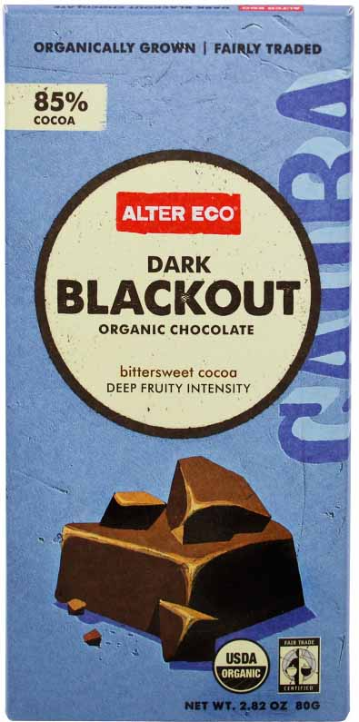 Alter Eco 85% Dark Chocolate Bar.