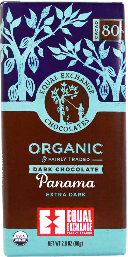 Equal Exchange 80% Cocoa Panama Chocolate Bar in Wrapper.