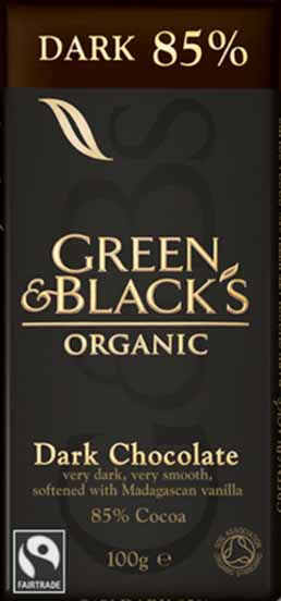 Green and Black's 85% Organic Dark Chocolate Bar.