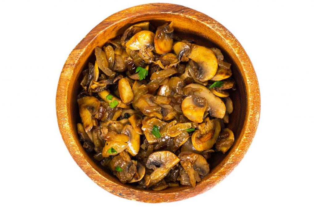 A picture of sauteed mushrooms.