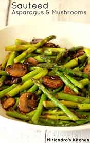 Picture of sauteed mushrooms and asparagus
