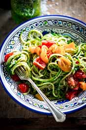 Picture of zoodles with pesto