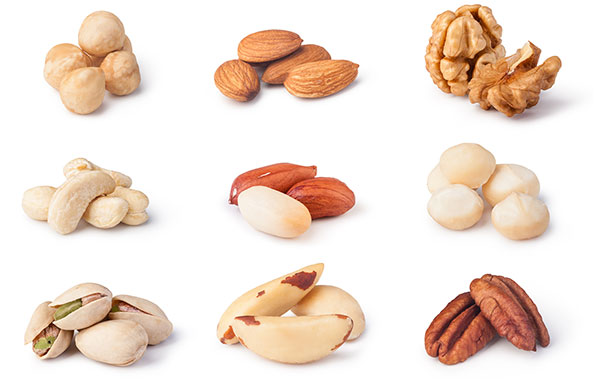 Picture of Various Nuts in a Group of Nine.