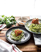 A zoodles recipe that includes homemade meatballs.