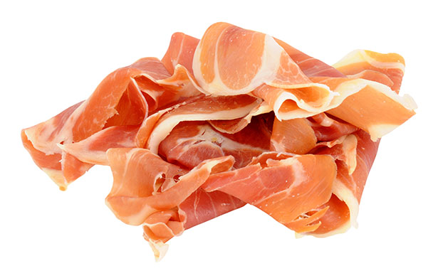 Picture of Prosciutto. This Cured Ham Has a High Fat Content.