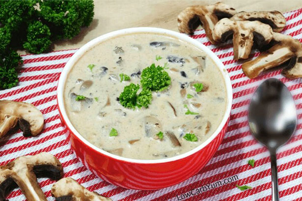 A Keto-Friendly Low Carb Cream of Mushroom Soup