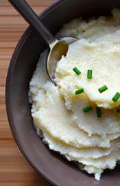 Picture of a Keto Mashed Cauliflower Side Dish. Low carb Version of Mashed Potato.