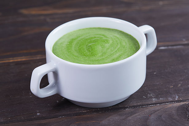 Picture of a keto soup made with creamed spinach.