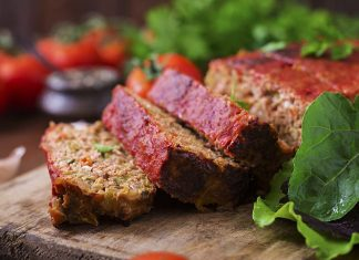 Picture of a low carb meatloaf cut into slices.