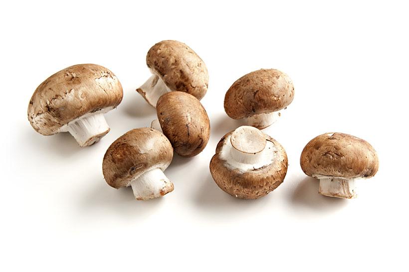 Picture of cremini mushrooms (Agaricus bisporus).