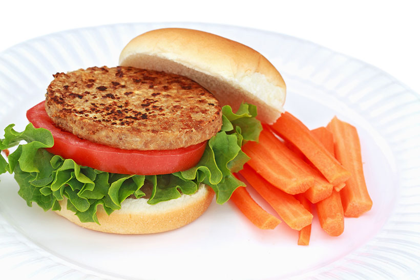 Picture of vegan veggie burgers - generally they contain large amounts of poor ingredients.