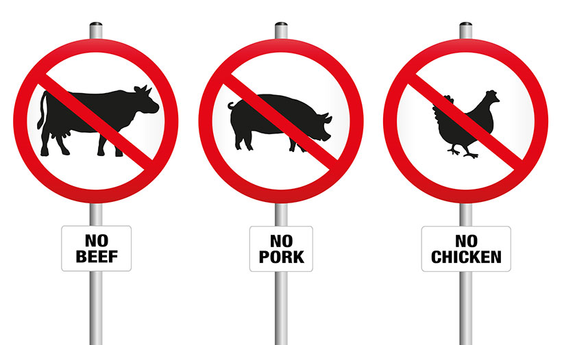 Vegan Propaganda: Symbols Advising Not to Eat Pork, Beef or Chicken