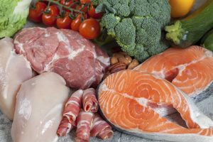 Picture showing healthy ketogenic foods including salmon and meat.