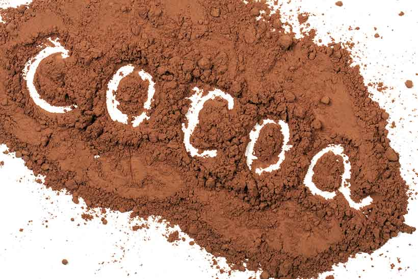Cocoa Powder on a White Background Spelling the Word Cocoa.