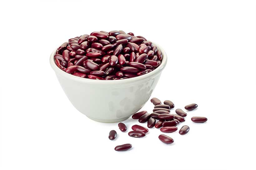 Red Kidney Beans in a Bowl on a White Background.