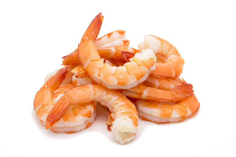 Some Cooked Shrimps on a White Plate.
