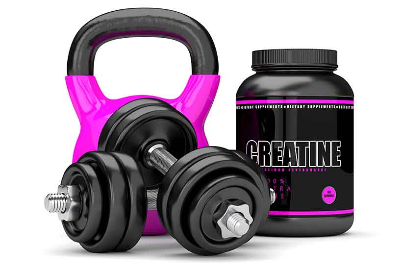 Picture of a Creatine Supplement Next to Workout Equipment.