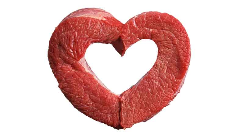A Heart-Shaped Cut of Red Meat.