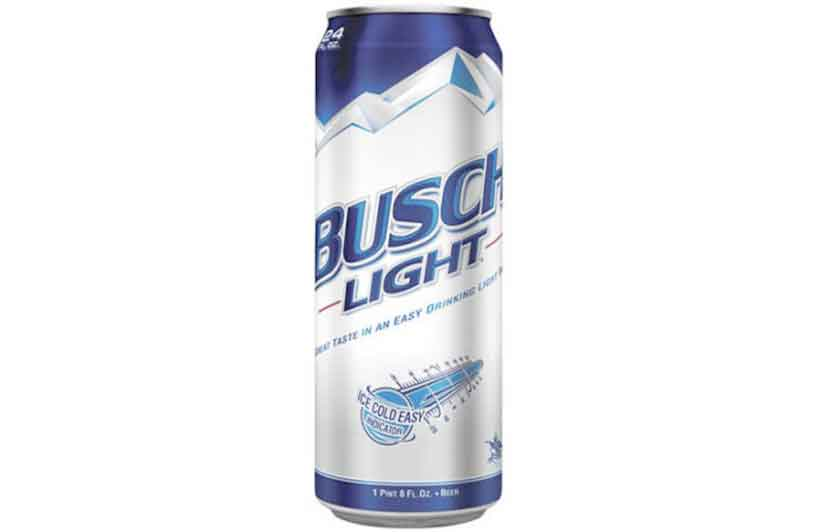 A Silver and Blue Can of Busch Light.