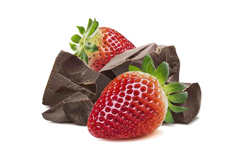 Dark Chocolate Pieces and Fresh Red Strawberries.