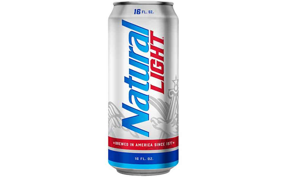 A Blue and Silver Can of Natural Light Beer.