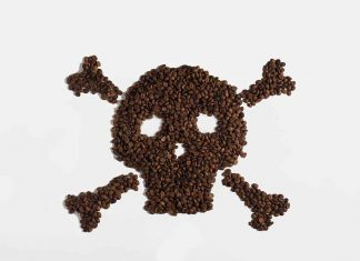 Skull Made From Coffee Beans: Negative Effects of Coffee Theme.