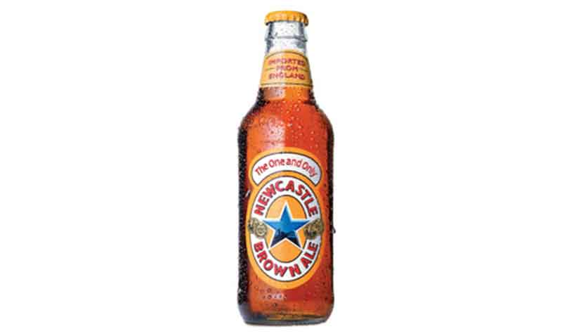 Bottle of Newcastle Brown Ale With Star Branded Packaging.