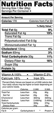 A Nutrition Facts Nutritional Label.