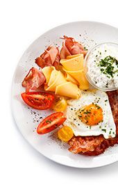 High Carb, Low Carb Foods Like Bacon, Cheese and Eggs.