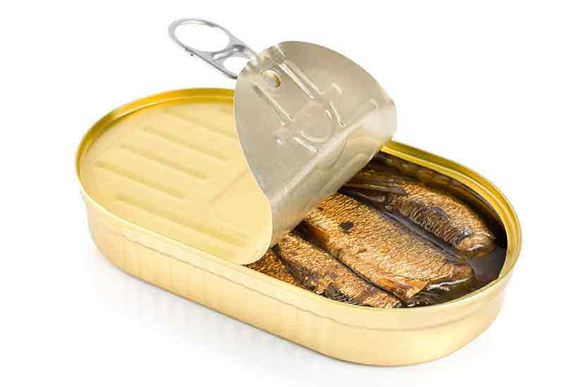 Canned Sardines in Brine With the Lid Open.